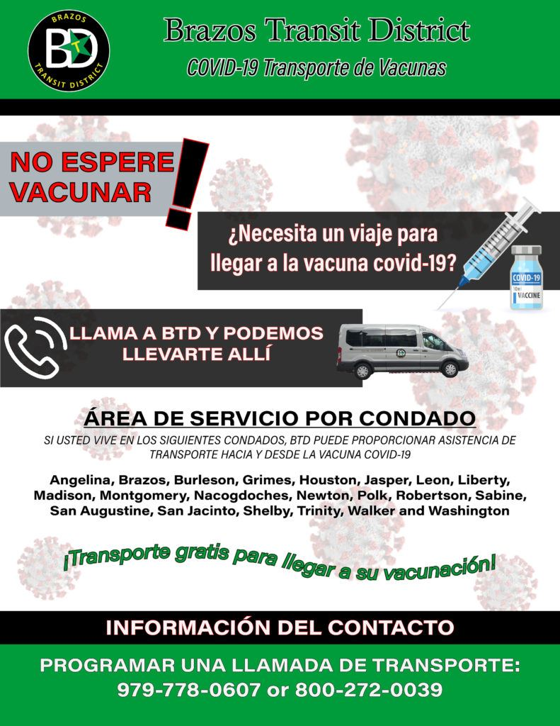 Brazos Transit Vaccine Transportation Flyer - Spanish