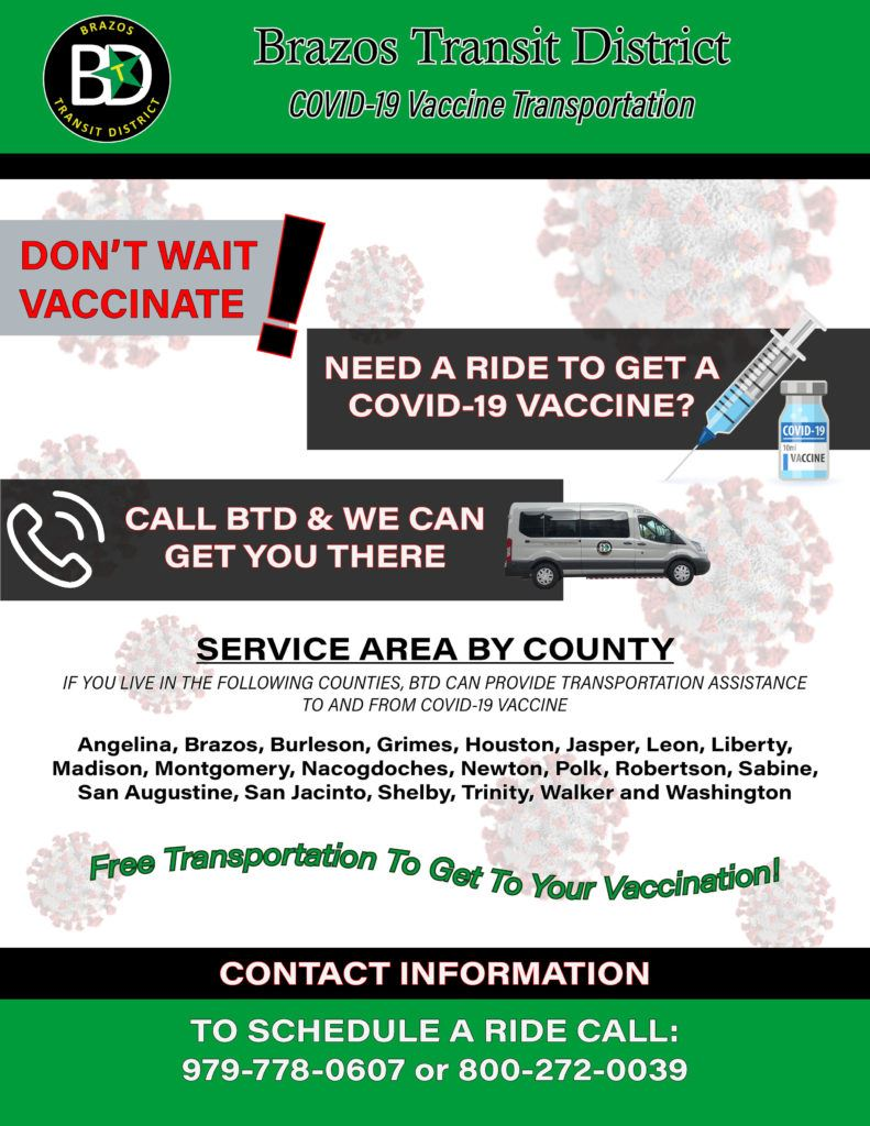 Brazos Transit Vaccine Transportation Flyer - English
