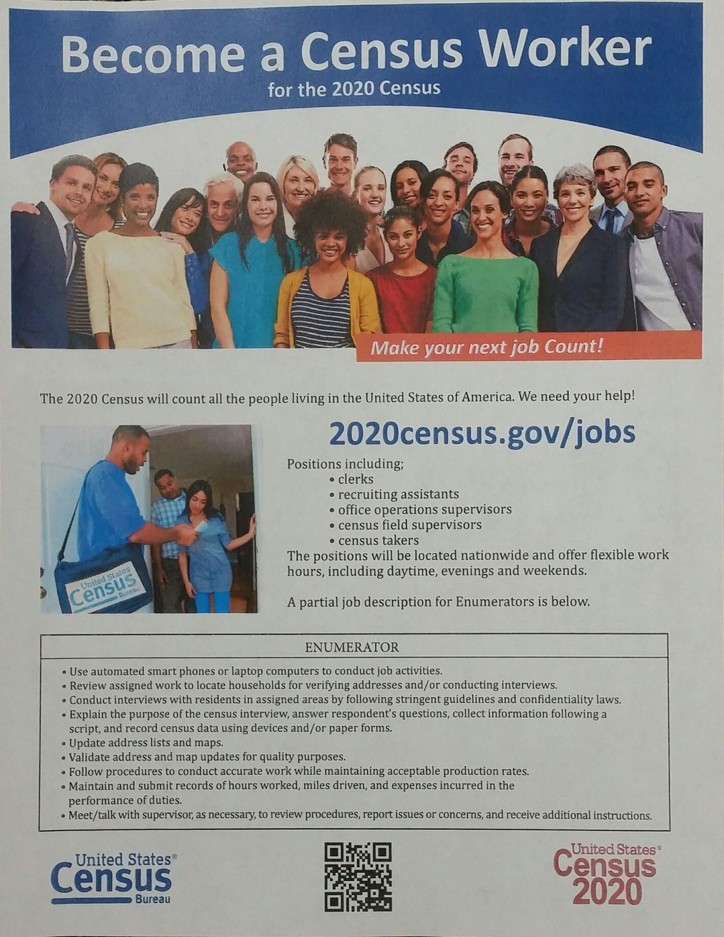 Become a Census Worker for Census 2020 Flyer