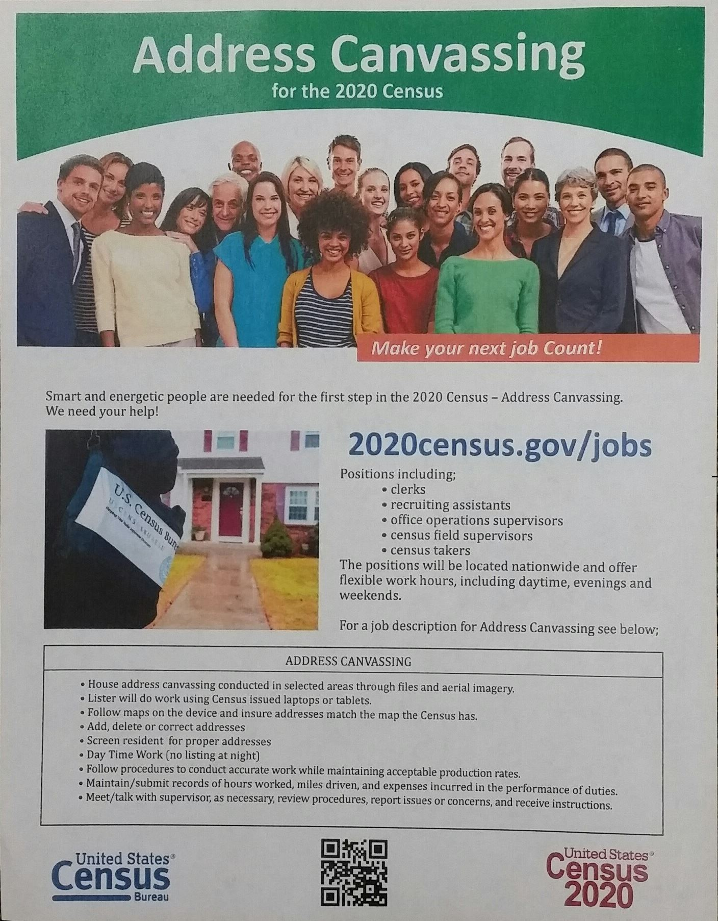 Address Canvassing for the 2020 Census Flyer